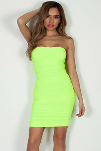 """No Feelings"" Neon Yellow Ruched Tube Mini Dress image"