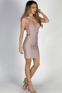 """""""One Night Only"""" Lavender Side Cut Out Bandage Dress image"""