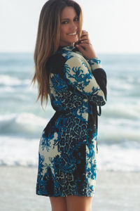Black, Blue & Ivory Abstract Floral & Leopard Print Beach Dress with Sleeves image