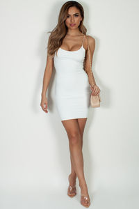 """""""All Or Nothing"""" Off White Spaghetti Strap Mini Dress image"""