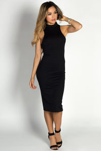"""Garcelle"" Black Turtleneck Sleeveless Jersey Bodycon Midi Dress image"