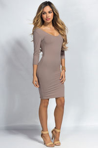 """Dylan"" Taupe 3/4 Sleeve Cute and Casual Bodycon Dress image"