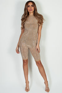 """Honey Baby"" Nude Sleeveless Mock Neck Rhinestone Jumper image"