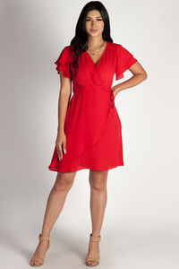 """""""Summer Sippin'"""" Red Ruffled Shoulder Dress image"""