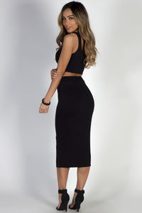 """On the Horizon"" Black Two-Piece Bodycon Midi Dress image"