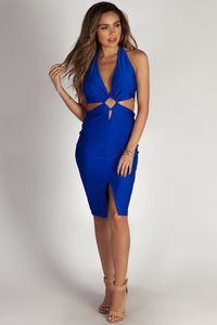 """""""Boo'd Up"""" Royal Blue Open Back Buckle Cut Out Midi Dress image"""
