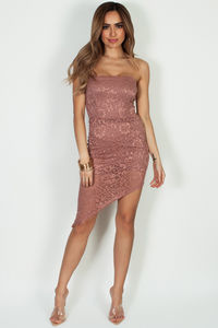 """""""Been The One"""" Mauve Lace Asymmetrical Tube Dress image"""