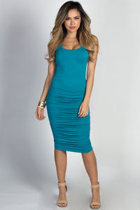 """Fabiola"" Turquoise Ruched Bodycon Jersey Tank Midi Dress image"