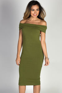 """Arianna"" Olive Off Shoulder Bodycon Midi Dress image"