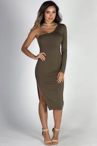 """""""Tease Me"""" Olive One Shoulder Midi Dress image"""