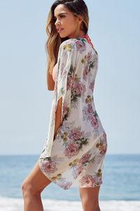 Cognac Ivory Floral Print Chiffon Kimono Beach Cover Up image
