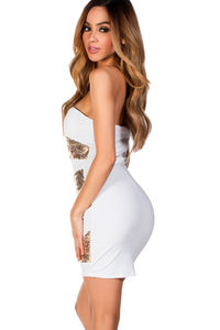 """""""Alexis"""" White and Gold Sequin Strapless Cocktail Party Dress image"""
