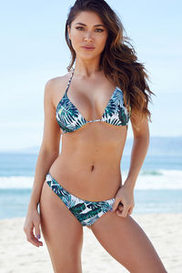 Tropical Palm Print Triangle Bikini Top image