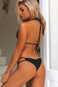 Black Double Strap Triangle Bikini Top image