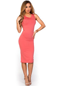 """Kiara"" Coral Sleeveless Casual Bodycon Midi Dress image"