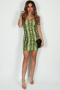 """""""Good To Me"""" Neon Lime Yellow Snake Print Mini Dress image"""