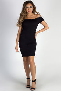 """Don't Mention Me"" Black Off Shoulder Ruffled Dress image"