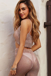 Granada Rose Gold Metallic Knit Crop Top Cover Up image