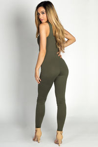 """""""Aaliyah"""" Olive Green Jersey Tank Catsuit Jumpsuit image"""