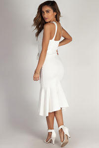 """""""You Don't Have To Call"""" White Fit & Flare Waist Tie Maxi Dress image"""