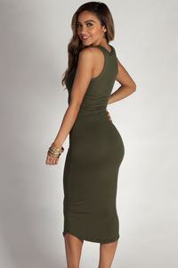 """Back To You"" Olive Split Neck Tank Dress image"