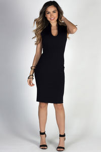 """Respect"" Black Classy Sleeveless Fitted Sheath Dress image"