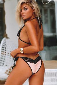 Maui Blush & Black Lace Triangle Top image