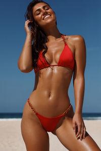 Red Micro Bikini On a Chain Bottom image