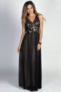 """Linnea"" Black Sleeveless Lace & Sequin Bodice Mesh Chiffon Goddess Gown image"
