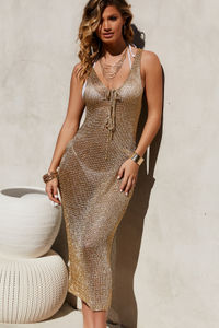 Marseille Gold Metallic Midi Dress Cover Up image