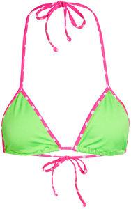 Tokyo Neon Green & Pink Polka Dot Bikini Top image