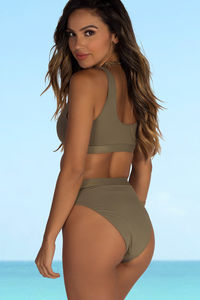Morning Glory Taupe Sexy Scoop Neck Sport Bikini Top image