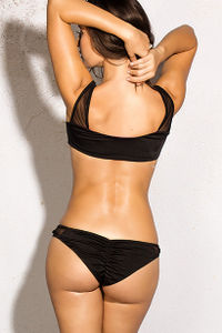 Cape Town Black Sheer Mesh Cut Out Sexy One Piece Bathing Suit image