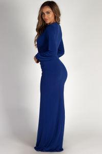 """Divine Feminine"" Royal Long Sleeve Deep V Maxi Gown image"