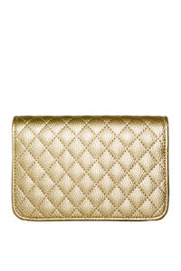 Gold Diamond Stitch Clutch W/ Detachable Shoulder Strap image
