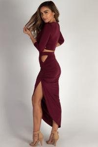 """""""In My Feelings"""" Black Sleeved Crop Top w/ Asymmetrical Skirt image"""
