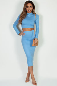 """""""No Days Off"""" Light Blue Long Sleeve Crop Top And Midi Skirt image"""