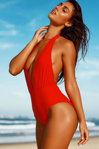Liz Red Deep V Halter One Piece Swimsuit  image