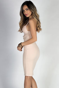 """""""Adore Me"""" Nude Lace up Bustier Cocktail Dress image"""