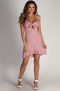 """Cherry Bomb"" Burgundy Gingham Front-Tie Ruffle Dress image"