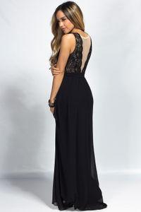 """Narissa"" Black Lace & Chiffon Sleeveless Deep V Goddess Maxi Gown image"