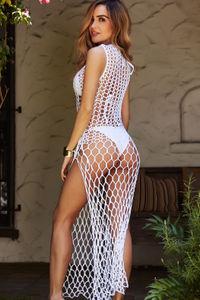 Cafe Zurich White Crochet Fishnet Beach Cover Up Dress image