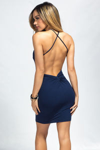 """""""Demi"""" Navy Blue Backless Jersey Halter Dress with a Twist image"""