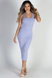 """Life is Good"" Lavender Bodycon Racerback Midi Tank Dress image"