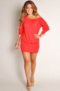 """""""Elena"""" Red Off-the-Shoulder Tunic Dress image"""
