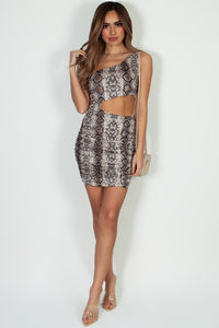 """Sweet Escape"" Python Print One Shoulder Bodycon Dress image"