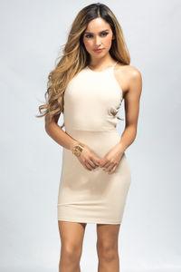 """Demi"" Tan High Neck Backless Jersey Halter Dress image"