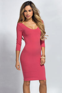 """""""Dylan"""" Pink 3/4 Sleeve Cute and Casual Bodycon Dress image"""