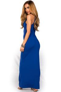 """Qadira"" Royal Blue Casual Racerback Jersey Maxi Dress image"