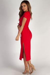 """""""Next To You"""" Pure Red Ribbed Wrap Dress image"""